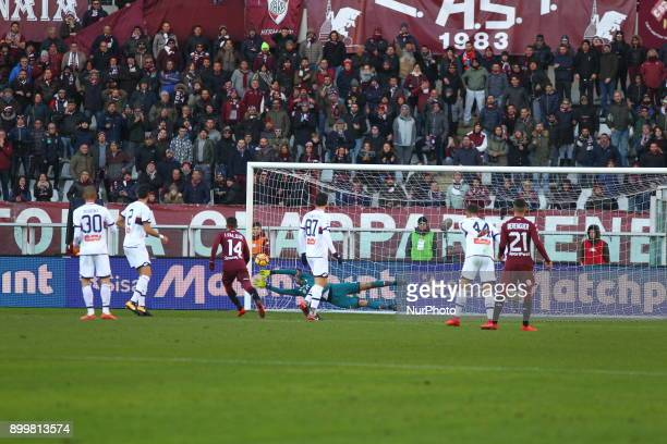 Mattia Perin in action during the Series A football match between Torino FC and Genoa CFC at Olympic Grande Torino Stadium on 30 December 2017 in...