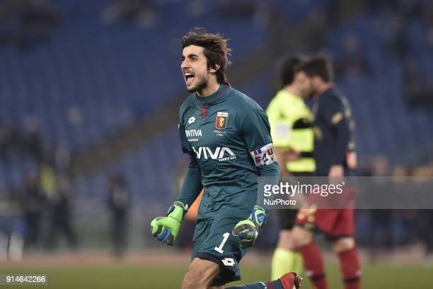 Mattia Perin of Genoa celebrates the victory during the Serie A match between Lazio and Genoa at Olympic Stadium Roma Italy on 5 February 2018
