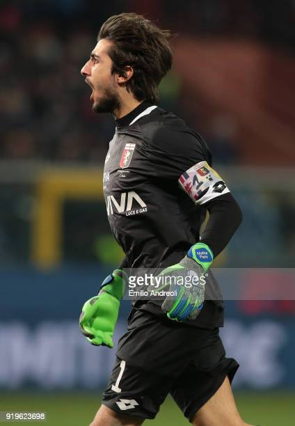 Mattia Perin of Genoa CFC celebrates after his teammate Ervin Zukanovic scored during the serie A match between Genoa CFC and FC Internazionale at...