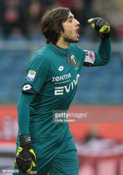 Mattia Perin of Genoa CFC gestures during the serie A match between Genoa CFC and US Sassuolo at Stadio Luigi Ferraris on January 6 2018 in Genoa...
