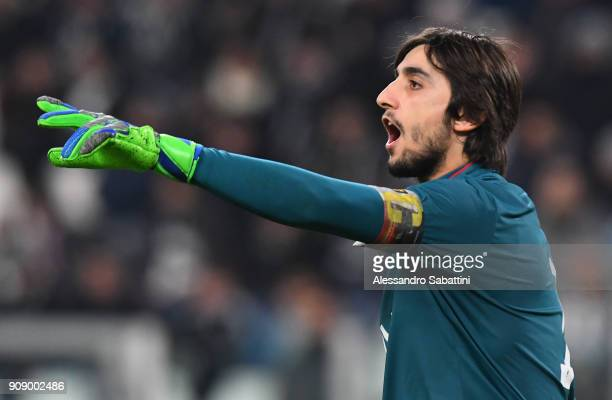 Mattia Perin of Genoa CFC gestures during the Serie A match between Juventus and Genoa CFC on January 22 2018 in Turin Italy