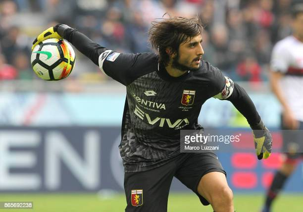 Mattia Perin of Genoa CFC in action during the Serie A match between AC Milan and Genoa CFC at Stadio Giuseppe Meazza on October 22 2017 in Milan...