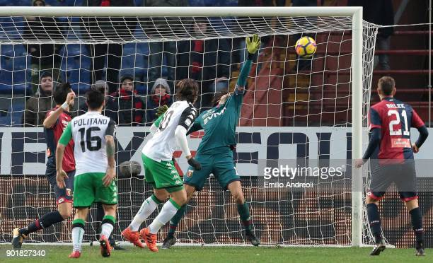 Mattia Perin of Genoa CFC makes a save on shot by Alessandro Matri of US Sassuolo Calcio during the serie A match between Genoa CFC and US Sassuolo...