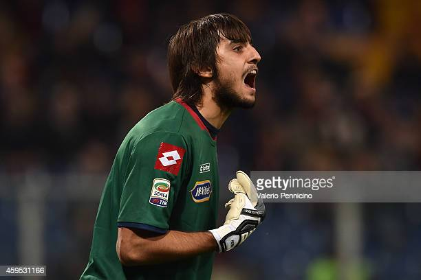 Mattia Perin of Genoa CFC reacts during the Serie A match between Genoa CFC and US Citta di Palermo at Stadio Luigi Ferraris on November 24 2014 in...