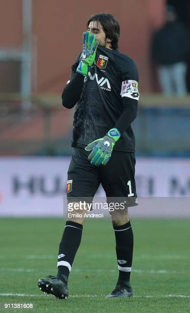Mattia Perin of Genoa CFC reacts during the serie A match between Genoa CFC and Udinese Calcio at Stadio Luigi Ferraris on January 28 2018 in Genoa...