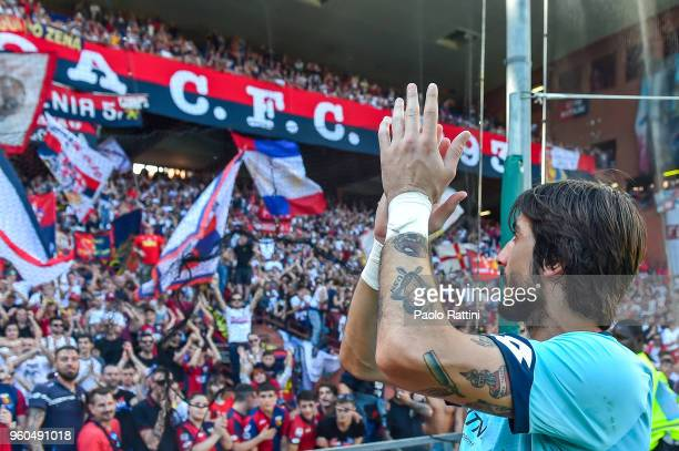 Mattia Perin of Genoa cries as he greets the crowd after the serie A match between Genoa CFC and Torino FC at Stadio Luigi Ferraris on May 20 2018 in...