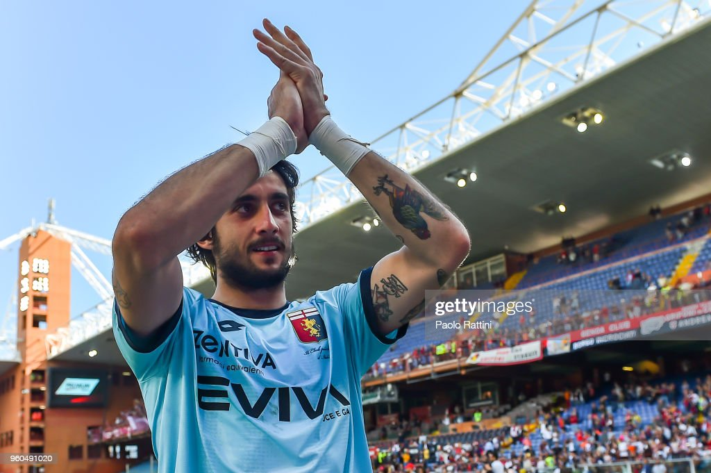 Mattia Perin of Genoa cries as he greets the crowd after the serie A match between Genoa CFC and Torino FC at Stadio Luigi Ferraris on May 20, 2018 in Genoa, Italy.