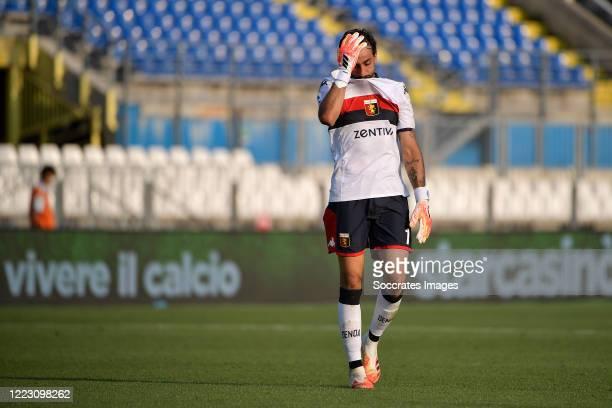 Mattia Perin of Genoa during the Italian Serie A match between Brescia v Genoa at the Stadio Mario Rigamonti on June 27, 2020 in Brescia Italy