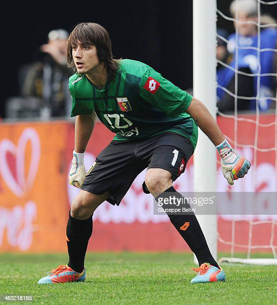 Mattia Perin of Genoa in action during the Serie A match between AS Roma and Genoa CFC at Stadio Olimpico on January 12 2014 in Rome Italy
