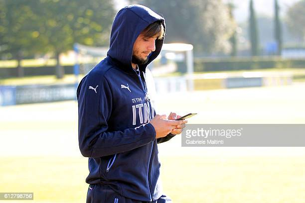 Mattia Perin of Italy during the training session at Coverciano on October 5 2016 in Florence Italy