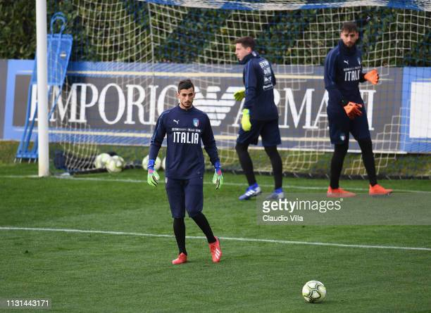 Mattia Perin of Italy in action during a training session at Centro Tecnico Federale di Coverciano on March 18 2019 in Florence Italy