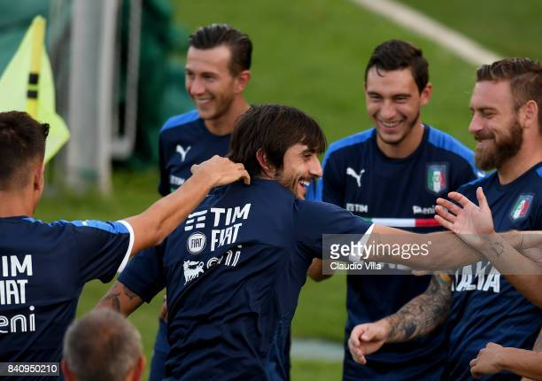 Mattia Perin of Italy reacts during the training session at Coverciano on August 30 2017 in Florence Italy