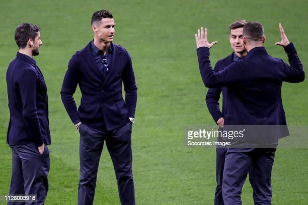 Mattia Perin of Juventus Cristiano Ronaldo of Juventus Paulo Dybala of Juventus Leonardo Spinazzola of Juventus during the Press Conference Juventus...