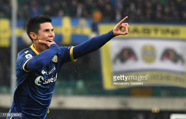 Mattia Pessina of Hellas Verona celebrates after scoring his team second goal during the Serie A match between Hellas Verona and Brescia Calcio at...