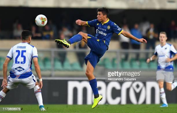 Mattia Pessina of Hellas Verona in action during the Serie A match between Hellas Verona and UC Sampdoria at Stadio Marcantonio Bentegodi on October...