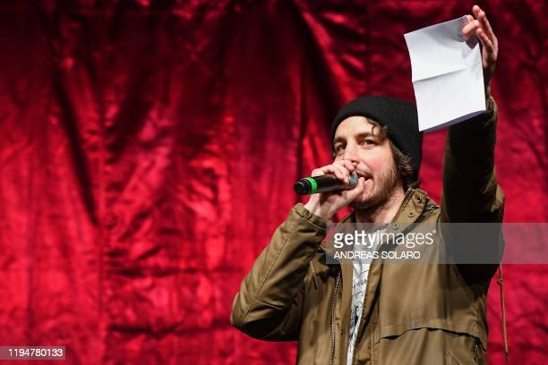 "Mattia Santori, one of the founders of of the anti-fascist ""Sardine"" movement formed to oppose the far-right League party, speaks on stage during a..."