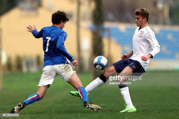 Mattia Saporetti of Italy Under18 in action against Emanule Matteucci of Italy during the at Coverciano 'Torneo Dei Gironi' Italian Football...