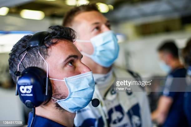 Mattia Spini Race Engineer of Daniil Kvyat of Scuderia Toro Rosso and Italy with Daniil Kvyat of Scuderia AlphaTauri and Russia during practice for...