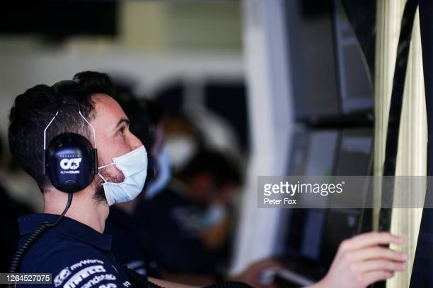 Mattia Spini Race Engineer of Daniil Kvyat of Scuderia Toro Rosso and Italy during practice for the F1 70th Anniversary Grand Prix at Silverstone on...