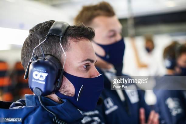 Mattia Spini Race Engineer of Daniil Kvyat of Scuderia Toro Rosso and Italy during practice for the F1 Grand Prix of Belgium at Circuit de...