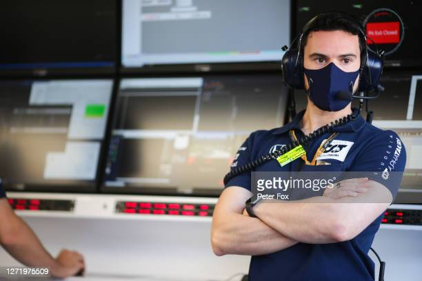 Mattia Spini Race Engineer of Daniil Kvyat of Scuderia Toro Rosso and Italy during practice ahead of the F1 Grand Prix of Tuscany at Mugello Circuit...