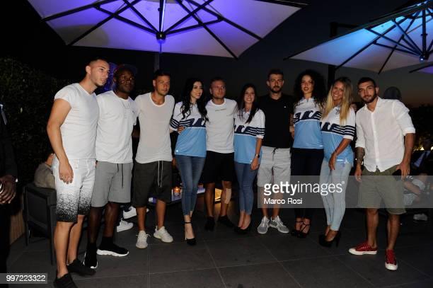 Mattia Sprocati Joseph Minala Alessandro Murgia Ciro Immobile Francesco Acerbi and Danilo Cataldi of SS Lazio attend the SS Lazio unveil new shirt...