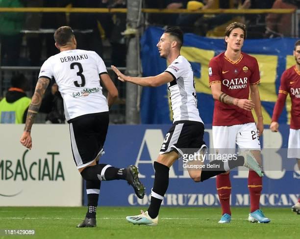 Mattia Sprocati of Parma Calcio celebrates after scoring opening goal during the Serie A match between Parma Calcio and AS Roma at Stadio Ennio...