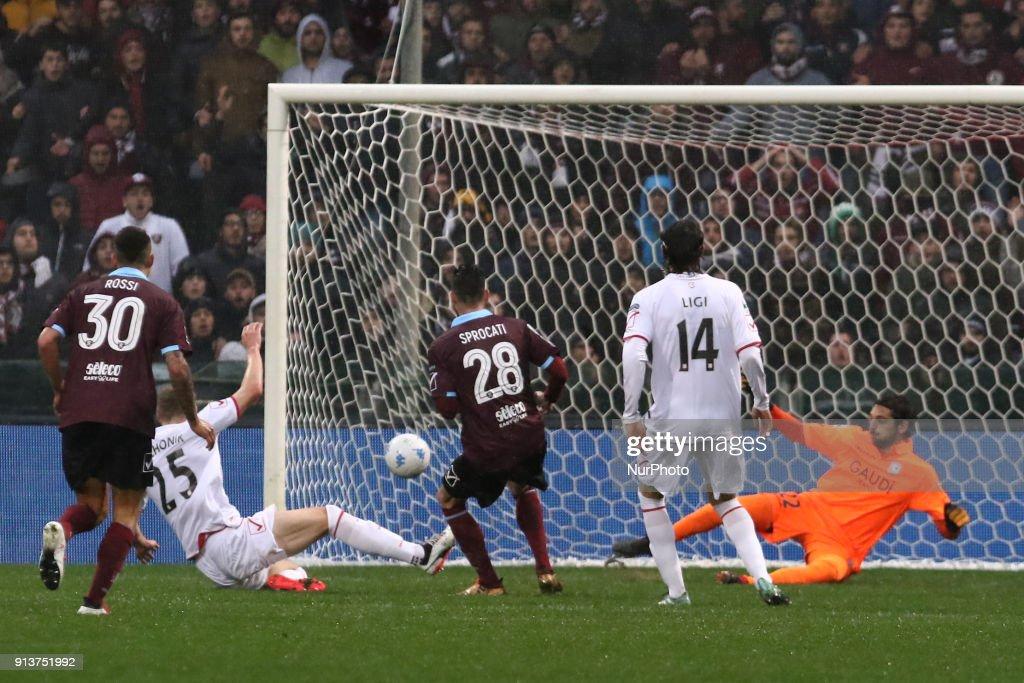 Mattia Sprocati (US Salernitana) scores a goal during Italy Serie B match between US Salernitana and Carpi FC at Stadium Arechi in Salerno, Italy, on 2 February 2018.