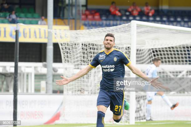 Mattia Vallotti of Hellas Verona celebrates after scoring his opening goal during the serie A match between Hellas Verona FC and Spal at Stadio...