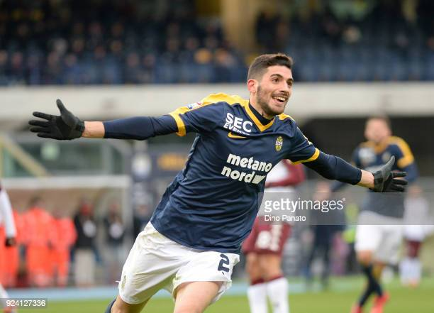 Mattia Vallotti of Hellas Verona celebrates after scoring his team's second goal during the serie A match between Hellas Verona FC and Torino FC at...