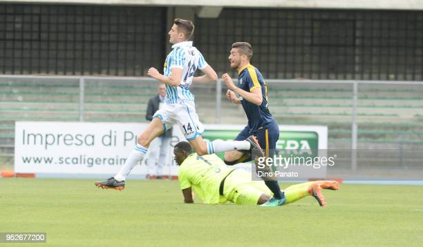 Mattia Vallotti of Hellas Verona scores his opening goal during the serie A match between Hellas Verona FC and Spal at Stadio Marc'Antonio Bentegodi...
