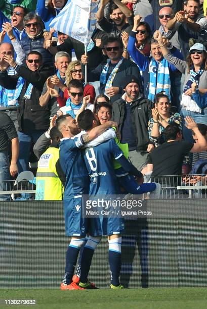 Mattia Valoti of SPAL celebrates after scoring his team's second goal during the Serie A match between SPAL and ACF Fiorentina at Stadio Paolo Mazza...