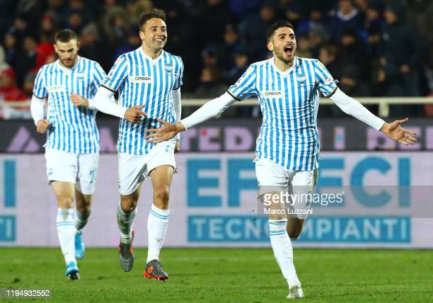 Mattia Valoti of Spal celebrates his goal during the Serie A match between Atalanta BC and SPAL at Gewiss Stadium on January 20, 2020 in Bergamo,...