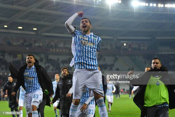 Mattia Valoti of SPAL celebrates victory at the end of the Serie A match between Torino FC and SPAL at Stadio Olimpico di Torino on December 21 2019...