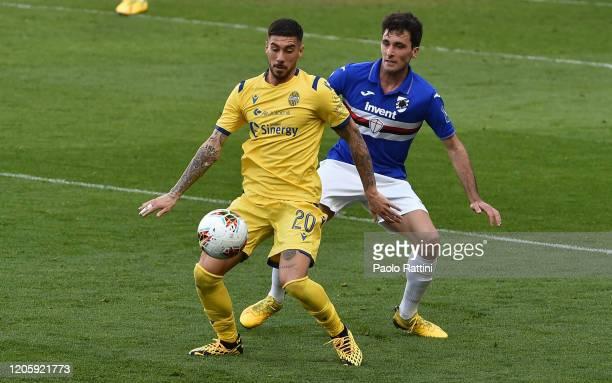 Mattia Zaccagni of Hellas Verona and Tommaso Augello of UC Sampdoria during the Serie A match between UC Sampdoria and Hellas Verona at Stadio Luigi...