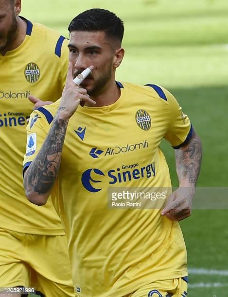 Mattia Zaccagni of Hellas Verona celebrates after scoring first goal during the Serie A match between UC Sampdoria and Hellas Verona at Stadio Luigi...