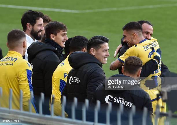 Mattia Zaccagni of Hellas Verona celebrates after scoring first goal with team mates during the Serie A match between UC Sampdoria and Hellas Verona...