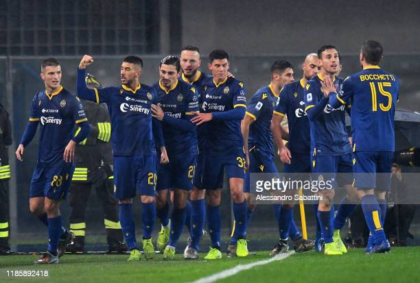Mattia Zaccagni of Hellas Verona celebrates after scoring the 11 goal during the Serie A match between Hellas Verona and AS Roma at Stadio...