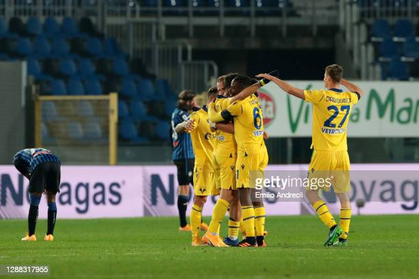 Mattia Zaccagni of Hellas Verona F.C. Celebrates with teammates after scoring their team's second goal during the Serie A match between Atalanta BC...
