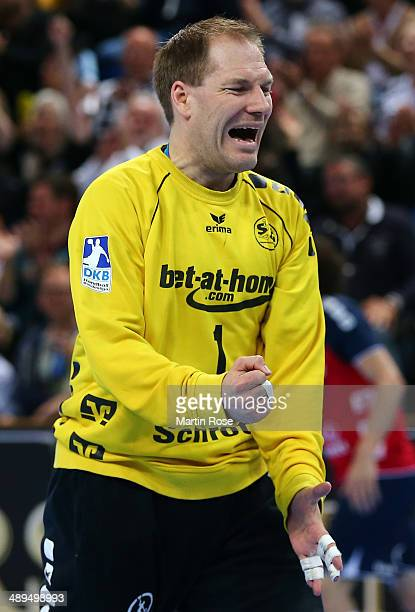 Mattias Andersson goaltender of Flensburg reacts during the DKB Handball Bundesliga match between THW Kiel and SG FlensburgHandewitt at Sparkassen...