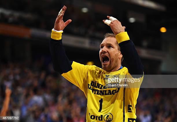 Mattias Andersson of Flensburg celebrates during the DKB Handball Bundeslga match between SG FlensburgHandewitt and THW Kiel at FlensArena on...