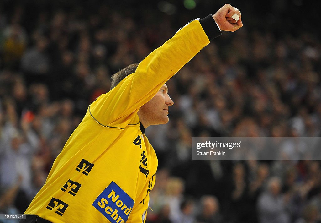 Mattias Andersson of Flensburg celebrates during the Toyota Bundesliga handball game between SG Flensburg-Handewitt and Rhein-Neckar Loewen at the Flens arena on March 20, 2013 in Flensburg, Germany.
