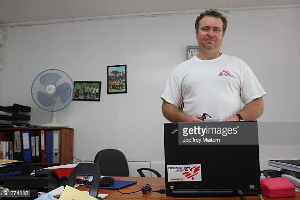 Mattias Armstrong of Australia a field logistician of Doctors Without Borders poses in his office September 30 2009 in the southern Philippine city...