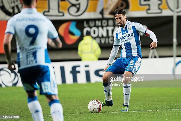 Mattias Bjarsmyr of IFK Goteborg passes the ball in the match between IFK Goteborg and BK Hacken at Gamla Ullevi on April 6 2016 in Gothenburg Sweden
