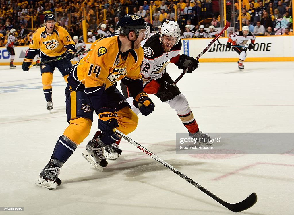 Mattias Ekholm #14 of the Nashville Predators skates against Shawn Horcoff #22 of the Anaheim Ducks during the second period in Game Six of the Western Conference First Round during the 2016 NHL Stanley Cup Playoffs at Bridgestone Arena on April 25, 2016 in Nashville, Tennessee.