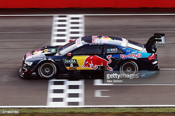 Mattias Ekstroem of Sweden and Audi Sport Team Abt Sportsline drives during a training session prior to the qualifying for the first round of the DTM...
