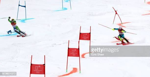 Mattias Hargin of Sweden and Stefan Hadalin of Slovenia compete during the Alpine Team Event on day 15 of the PyeongChang 2018 Winter Olympic Games...