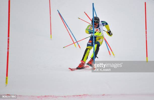 Mattias Hargin of Sweden competes in the second run of the men's slalom event at the FIS Alpine World Cup in Kitzbuehel Austria on January 21 2018 /...