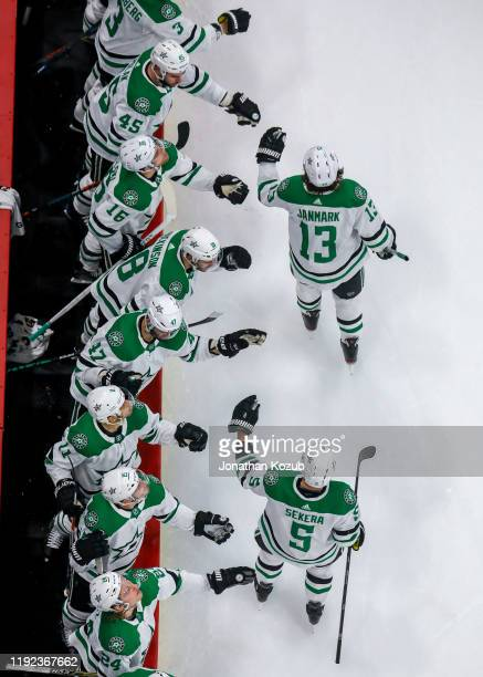 Mattias Janmark and Andrej Sekera of the Dallas Stars celebrate a second period goal against the Winnipeg Jets with teammates at the bench at the...
