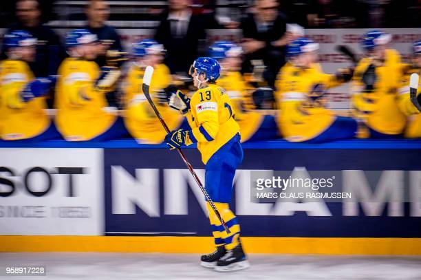 Mattias Janmark of Sweden celebrates after scoring during the group A match Russia v Sweden of the 2018 IIHF Ice Hockey World Championship at the...